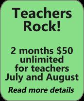 Teachers rock! 2 months $50 membership
